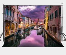 150x220cm Beautiful Waterside Town Backdrop Retro Houses Dusk View Photography Background