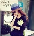 Мисс Хан Пан Отдыха Синий Кофе Хит Цвет Заклинание Цвет Лук Козырек Пляж Шляпа Большой Соломенной Шляпе