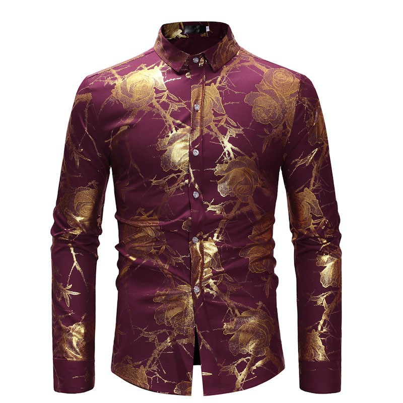 Fashion Floral Print Dress Shirt Mens Stand Collared Top Gold Rose Flower Hippie Club Dance Shirt High Collar For Men Blue Black