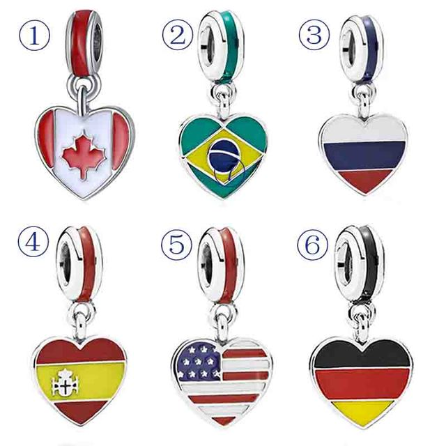 b2c9c3cbb Enamel Love Heart Flag Canada Britain Germany Russia Pendant Charm Fit Pandora  Bracelet 925 Sterling Silver Bead Jewelry