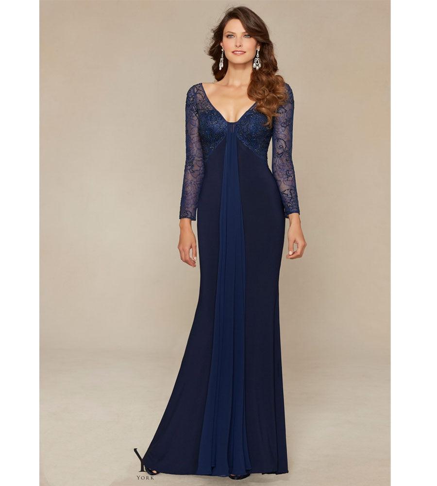 Empire Waist Long Sleeve Dark Blue Evening Dress