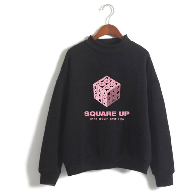Moletom black pink KPOP blackpink square up Album Capless Sweatshirts Streetwear Hip Hop Fleece Turtleneck Hoodie K-POP Clothes