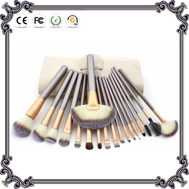 DAXINQI 18pcs Pro make up brush set Luxury Horse Hair  cosmetic kit foundation brush with Pouch Case