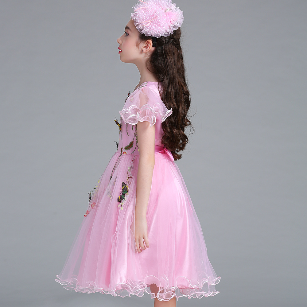 2018 Spring Flower Girl Dresses New Pink Flowers Butterfly Lace