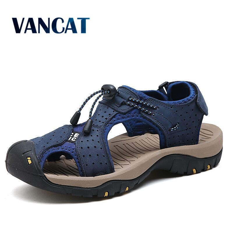 Vancat Big Size Genuine Leather Men Sandals New Summer Men Shoes Beach Sandals For Man Fashion Brand Outdoor Casual Sneakers