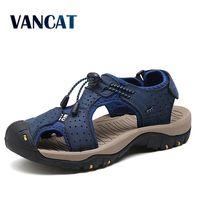 Vancat/мужские сандалии из натуральной кожи; Новинка; Летняя мужская обувь; пляжные сандалии для мужчин; модные брендовые повседневные кроссов...