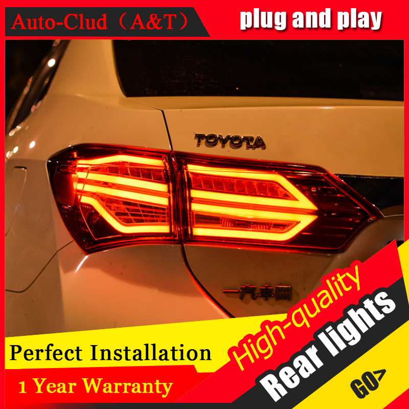 ФОТО Car Styling LED Tail Lamp for TOYOTA Corolla Tail Lights 2014-2016 For Corolla Rear Light DRL+Turn Signal+Brake+Reverse light