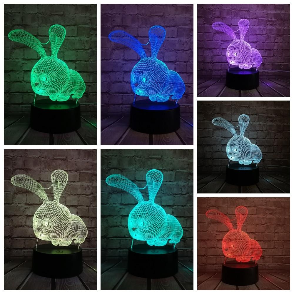 Night Light Cute Animal Owl Theme 3D L/ámpara LED Night Light 7 Cambio de color Touch Mood Lamp Christmas Present