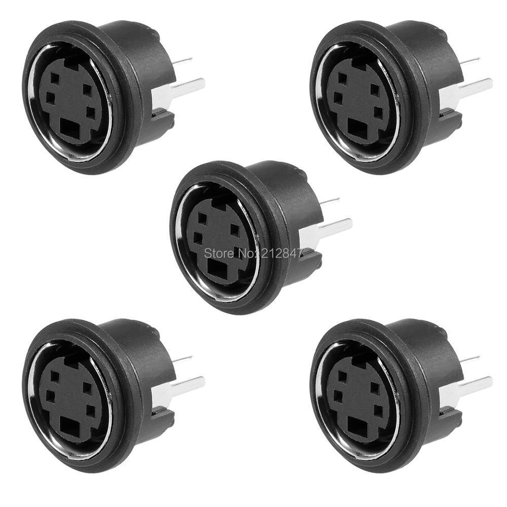 5pcs S-video PCB Mount 4 Pins Din Socket Audio Video Connectors Black MDC-4-045pcs S-video PCB Mount 4 Pins Din Socket Audio Video Connectors Black MDC-4-04