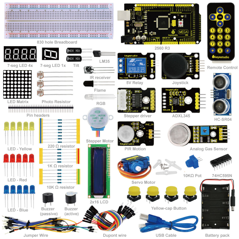 Keyestudio Advanced Starter Learning Kit For Arduino Education Project  with MEGA 2560R3 1602 LCD+PDF(online)-in Integrated Circuits from Electronic Components & Supplies