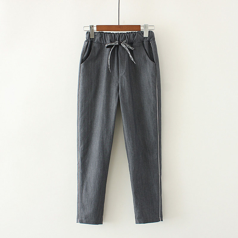 New Fashion Women's Ankle-Length Pants With Pocket Spring Summer Autumn Girls Elastic Waist Cotton Linen Harem Pants Size S-Xxl