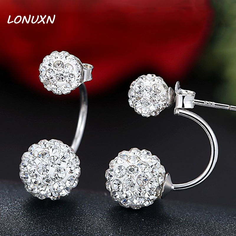 10mm 925 pure Sterling Silver women Jewelery female crystal double ball crystal earrings sweet fashion jewelry lovers best gift