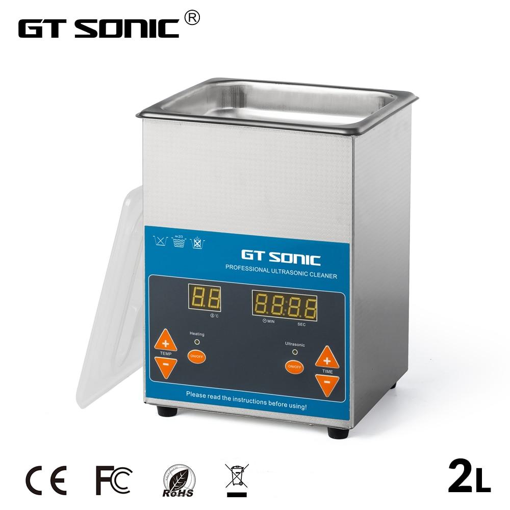 GT SONIC VGT 1620QTD Ultrasonic Cleaner 2L 50W with Digital Display Heating Basket Ultrasonic Bath