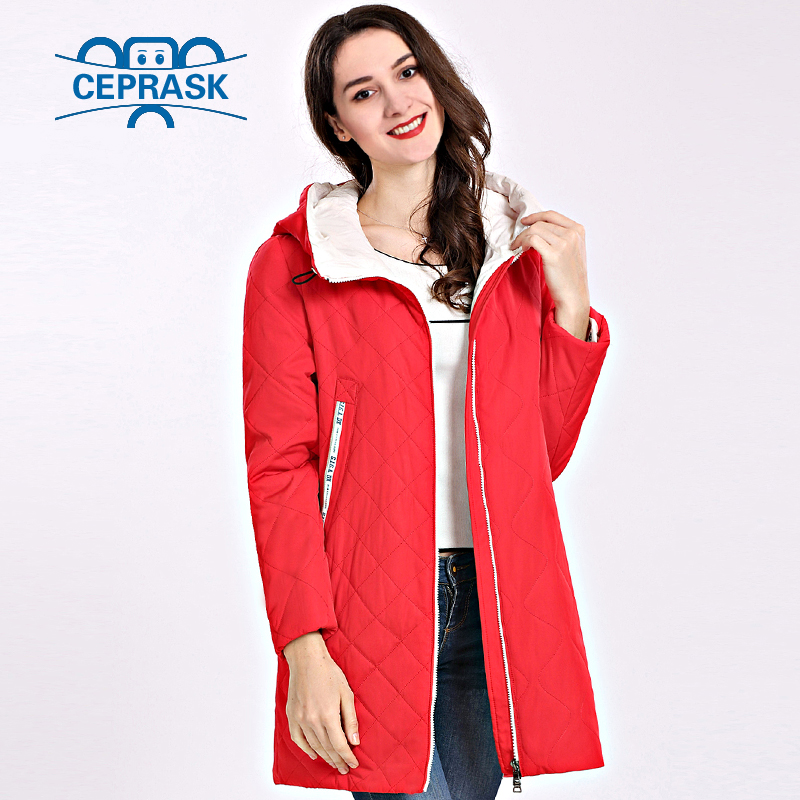 2018 Spring Autum Women's   Parka   Coat Thin Women Jackets Long Plus Size Hooded High Quality Warm Cotton Coats CEPRASK New Padded