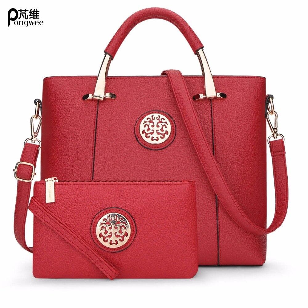 PONGWEE High Quality PU Leather Tassel Handbags Composite Bag 2 Bag/Set Fashion Designer Women Bag With Small Messenger Bag high quality tote bag composite bag 2
