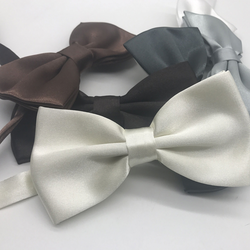 Men Skinny Bowtie Solid Fashion Bow Tie Black White Grey Bow Tie Men