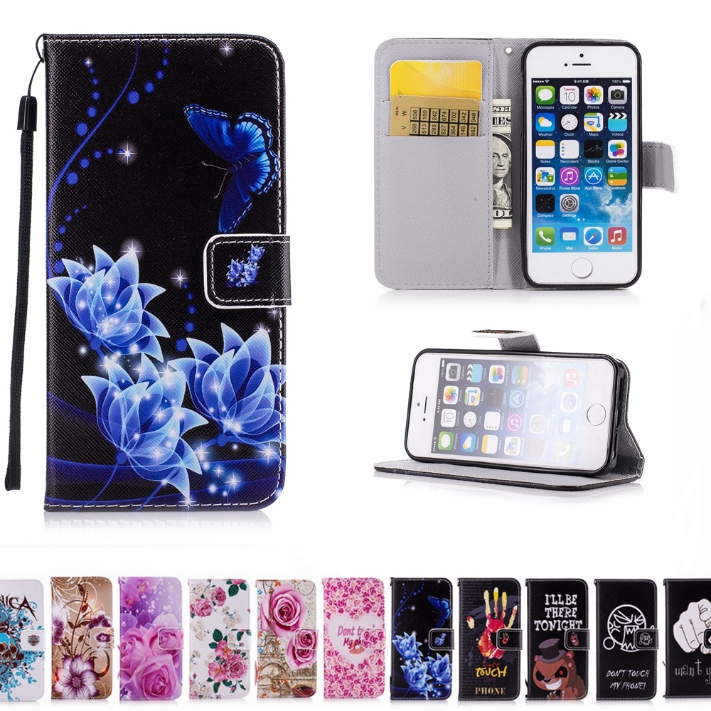 Book Art Painted Flip Wallet Leather Cover Soft Case With Rope Card Holder  For Apple Iphone