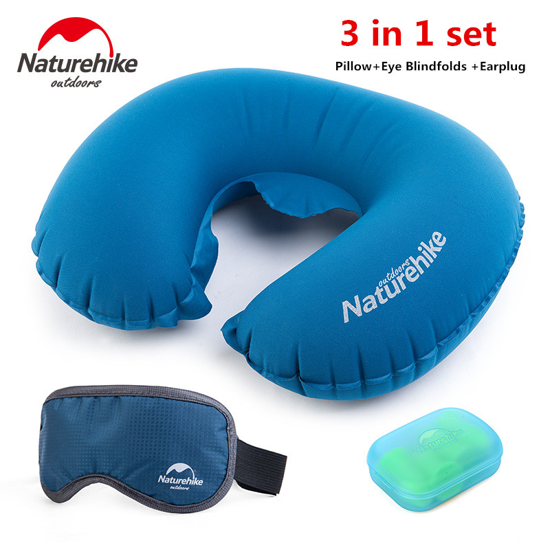 NatureHike Factory Store Portable Pillow Air Inflatable Travel Kits Pillow+Eye Blindfolds +Earplug 3 <font><b>In</b></font> 1 Set Travel Necessity