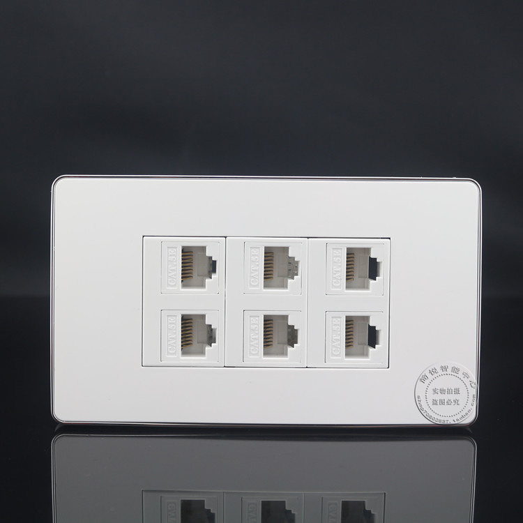 120*70mm Wall Socket Plate 6 Ports LAN Network RJ45 Cat5e Panel Faceplate Outlet Home Adapter 86x86mm single double port rj45 thick wall plate faceplate wall mount installation with rj45 & rj11 keystone socket outlet