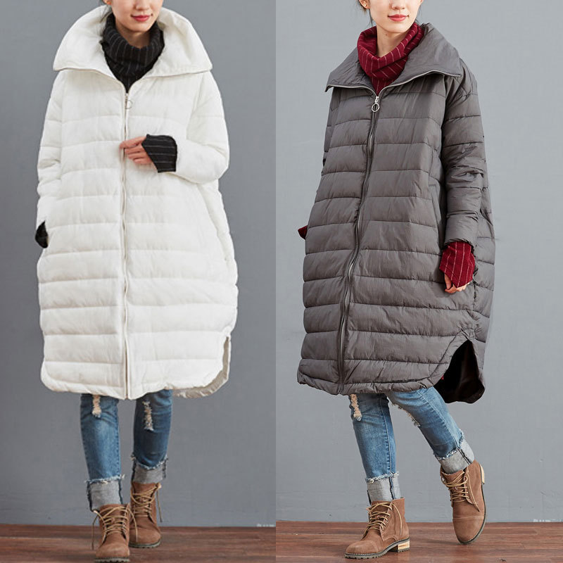 2016 female winter thick down cotton padded jacket solid color plus size outerwear vintage medium long