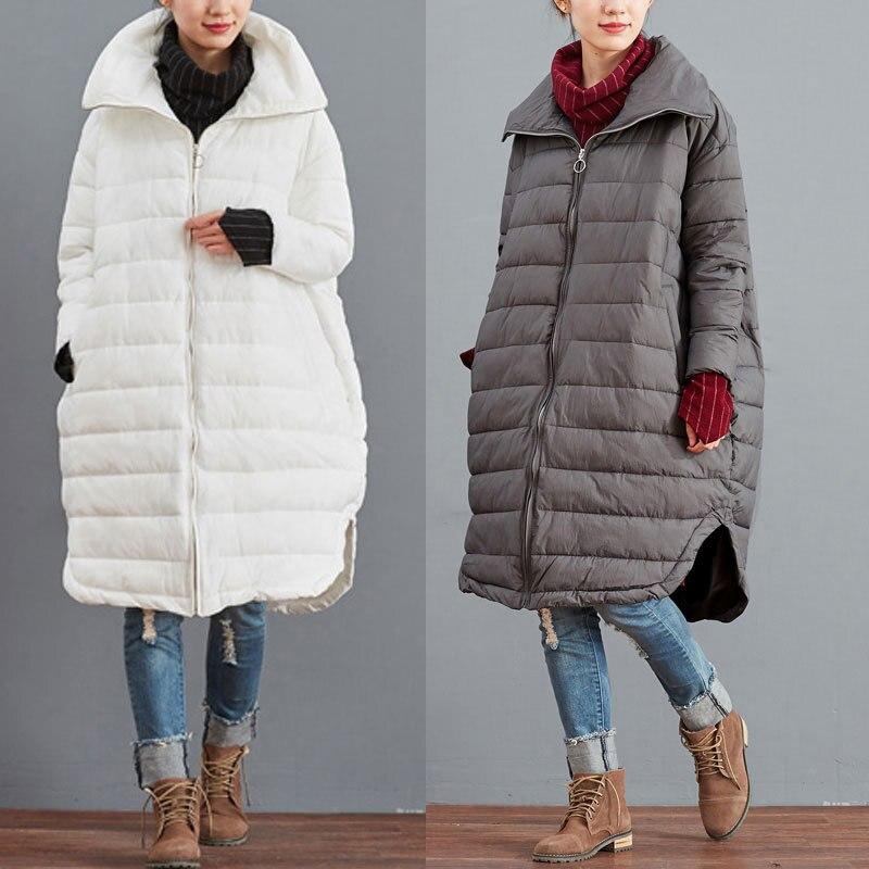 c75586208ab9 2016 femme hiver épais duvet de coton-rembourré veste solide couleur plus  la taille survêtement vintage moyen-long manteau