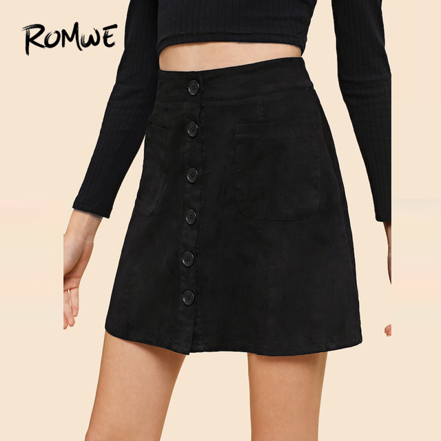 e2cdb31375 Single Breasted Suede Skirt Female 2019 Fashion Spring Autumn Mid Waist  Ladies A Line Black Above Knee Women Sexy Skirt