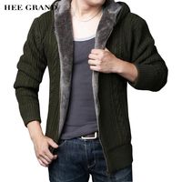 HEE GRAND Men Casual Sweater 2017 New Arrival Thick Warm Autumn Winter Male Zipper Cardigan Masculino