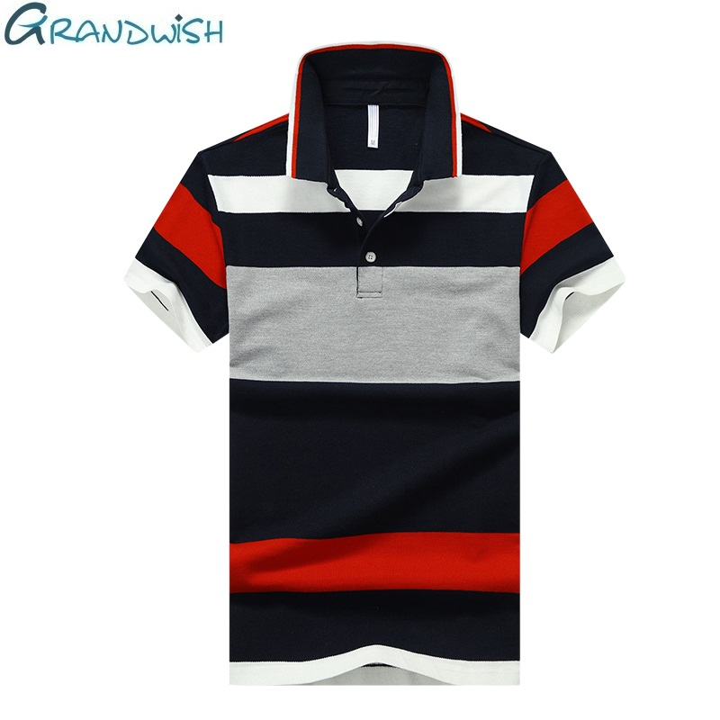 Grandwish Casual   Polo   for Men's Cotton Breathable Anti-pilling Short   Polos   Shirt Striped Short Sleeve Men Summer Clothing,NA017