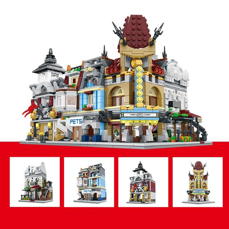 1362 pièces bricolage classique ville 4IN1 Mini rue modèle ensemble blocs de construction ensembles compatibles Legoings animalerie Figures enfants cadeau