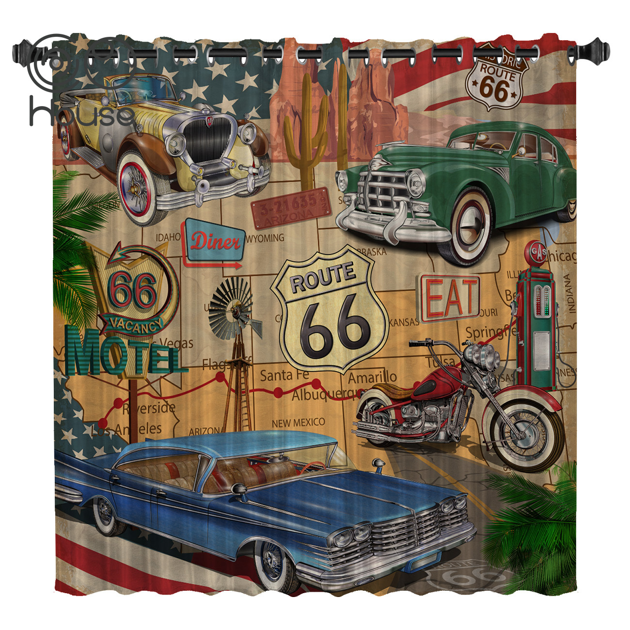 COCOHouse Retro Route 66 Poster Room Curtains Large Window Blackout Bedroom Kitchen Indoor Fabric Decor Kids Window Treatment