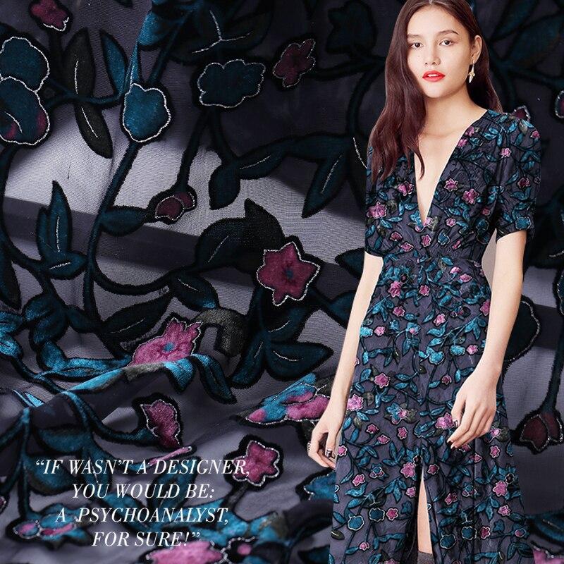 114cm Burnout Velvet Silk Fabric Perspective Dress Fabric Butterfly Cheongsam Silk Velvet Fabric Wholesale Silk Cloth