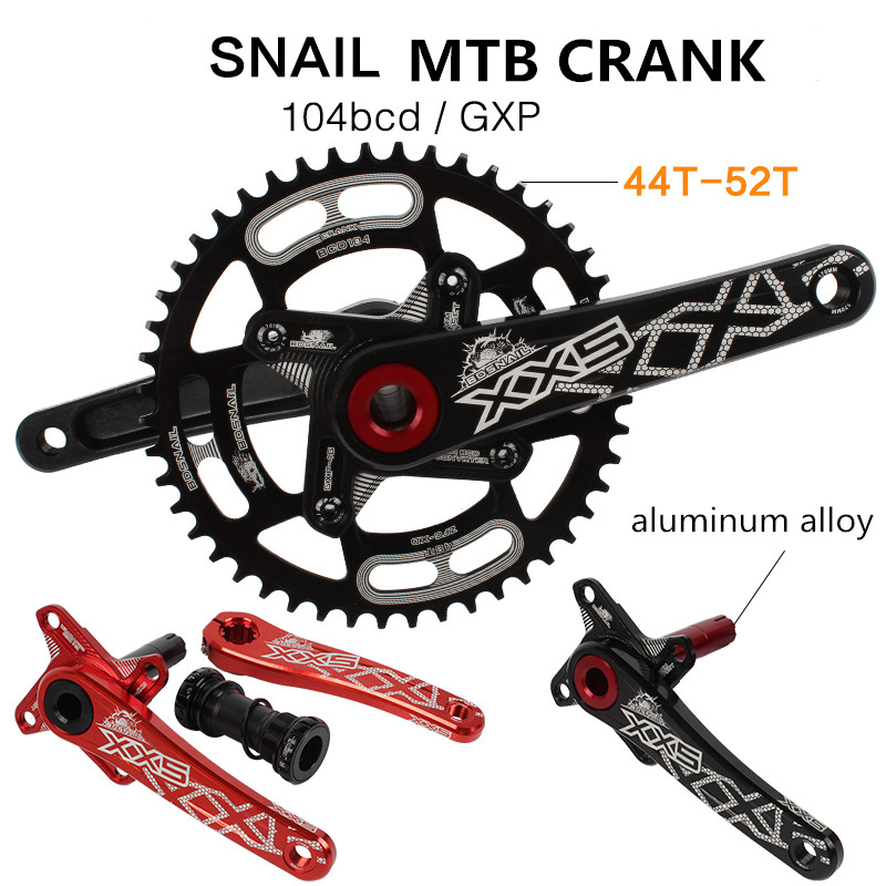 SNAIL MTB Mountain Bike Hollow Crankset Aluminum Alloy Crank Chainwheel Single Disc 44T 46T 50T 52T Large Plate