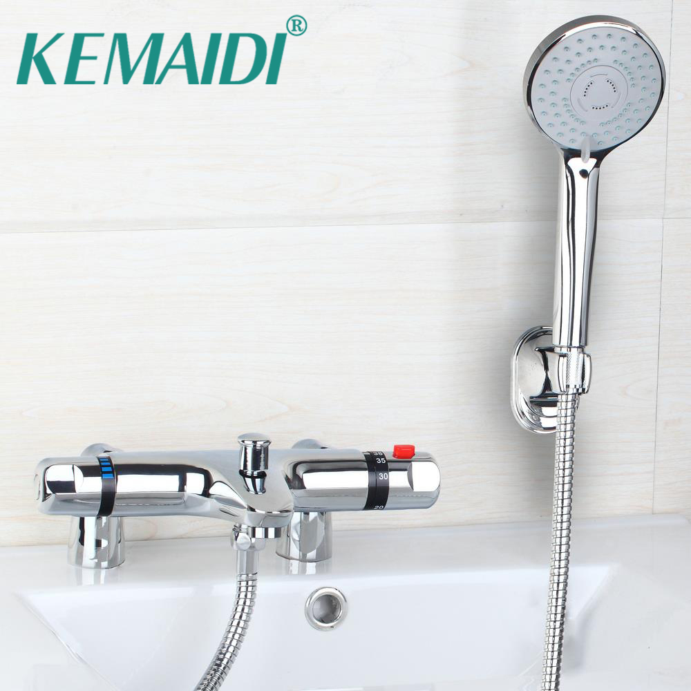KEMAIDI Bath Mixer banho de torneira Thermostatic Deck Mount Bathtub Faucet With Hand Shower Faucets Mixers Shower Set china sanitary ware chrome wall mount thermostatic water tap water saver thermostatic shower faucet