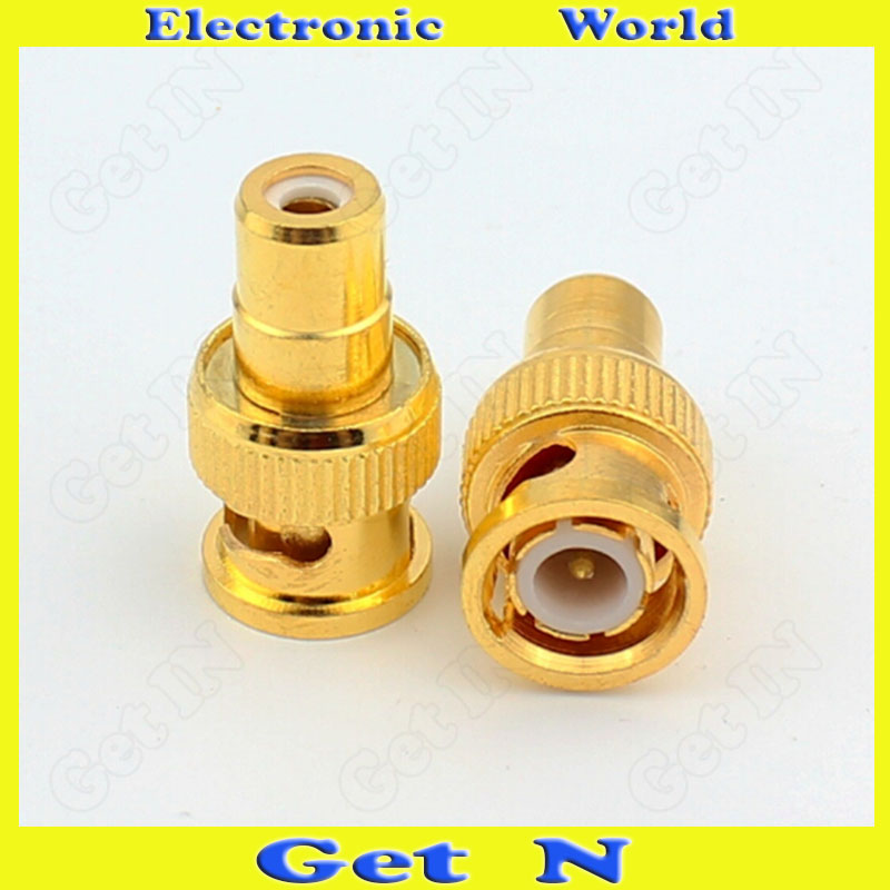 20pcs-200pcs BNC J/RCA K Gilt/Gilded Audio Adapter Connector Converting BNC Male to RCA  ...