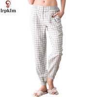 2017 Spring Sexy Womens Sleep Bottoms Fresh Soft Cotton Home Trousers For Women Pajamas Pants Plaid Trousers Women SY687