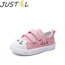 JUSTSL/Новинка года; детская повседневная спортивная обувь с милым рисунком кота; нескользящая спортивная обувь белого цвета; модные кроссовки для девочек; размеры 21-30