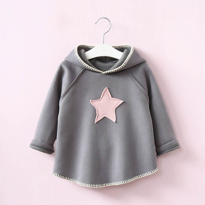 YPG31862735 2017 New Autumn Baby Girl Top Hooded Solid Star Girl Tee Fashion Kids Sweatshirt Full Sleeve Girls Clothes
