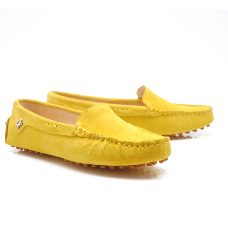 5d230553df2d Womens Round Toe Genuine Leather Boat Shoes Ballet Flats Loafers Yellow