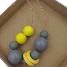 Wooden Maxi Necklace Grey and Yellow