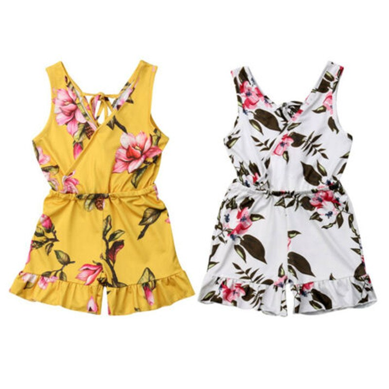 2019 Toddler Baby Girls Floral Printed   Romper   Cute Summer Sleeveless V-neck Ruffles Jumpsuit Outfits Princess Children Clothes