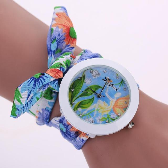 Ladies flower cloth wristwatch fashion women dress watch high quality fabric wat