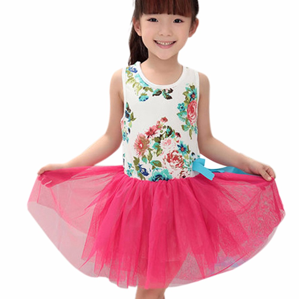 73c993dbb25 Summer Beautiful Kids Bowknot Tutu Flower Party Princess Tulle Dress Baby  Girl Clothes