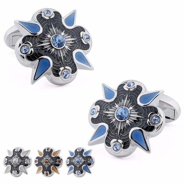Brand New Retail Men's Cuff Links Personalized Design Enamel & Crystal Rhodium Plated Shirt Jewelry Cuff -links