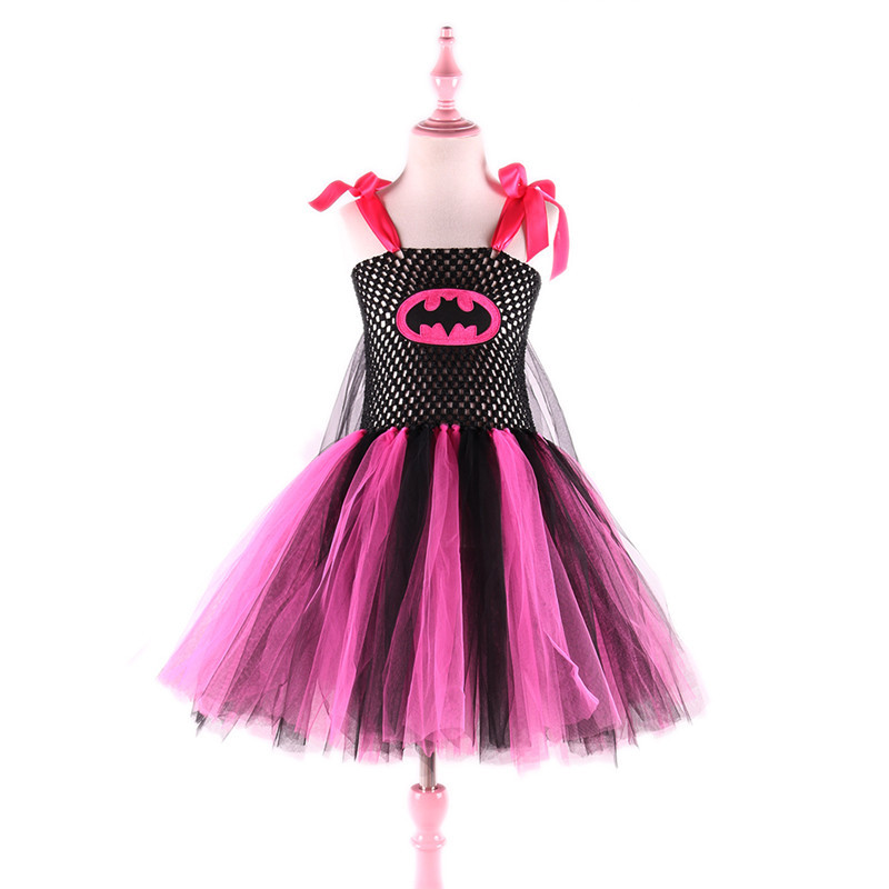 European Style Children Clothes Design Toddler Girl Princess Tulle Tutu Halloween Batman Sukienka Costume Girls Party Dress Kids