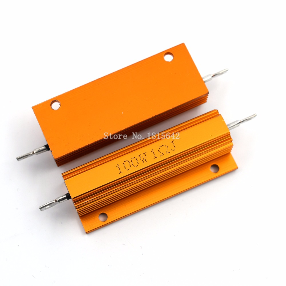 RX24 100W 1R 1RJ 100 Watt Metal Shell Aluminium Gold Resistor High Power Heatsink Resistance Golden Heat Sink Resistor 1 Ohm
