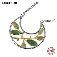 LARGERLOF Pendant Female Pendant Silver 925 Tree Of Life Jade Pendant Handmade Fine Jewelry 925 Silver Pendant NK37048