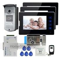 7 Touch Screen Video Door Phone Intercom 3 Monitors Waterproof RFID Access Camera Electric Lock Remote