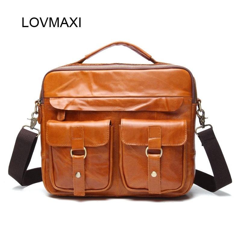 LOVMAXI Genuine Leather Vintage Men Crossbody Bags Natural Cow Leather Shoulder Bags Male Business Messenger Bag handbags