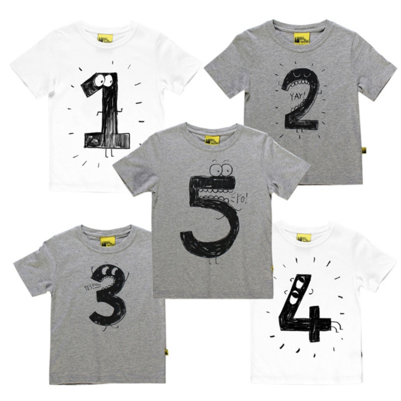 Number Letter Printing T Shirt Casual Tops For Kids Baby Funny Birthday Shirts In