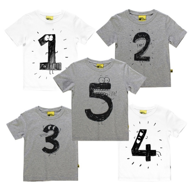 Number Letter Printing T Shirt Casual Tops For Kids Baby Funny Birthday Shirts